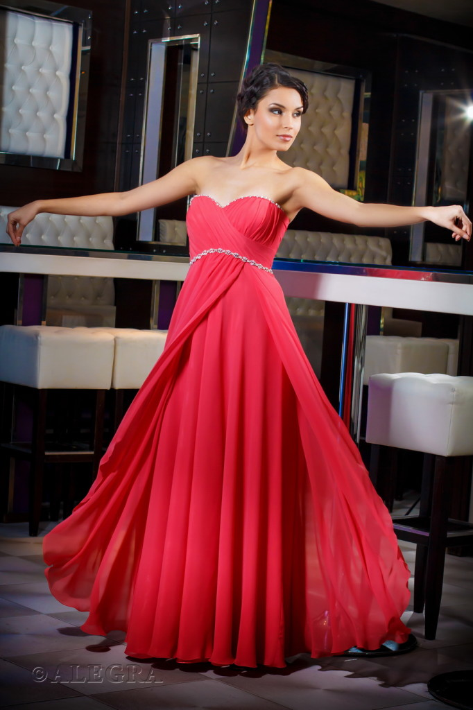 "Red dress by fashion house ""Alegra"""